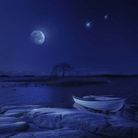 A boat moored near an icy stone in a lake against starry sky, Finland Fine-Art Print