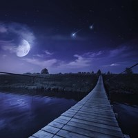 A bridge across the river at night against starry sky, Russia Fine-Art Print