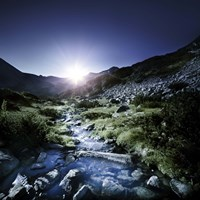 Small stream in the mountains at sunset, Pirin National Park, Bulgaria Fine-Art Print
