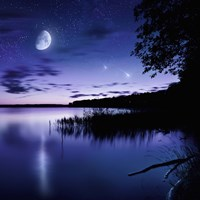 Tranquil lake against starry sky, moon and falling meteorites, Russia Fine-Art Print