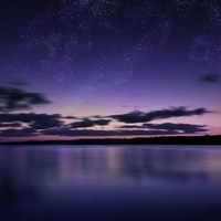 Tranquil lake against starry sky, Russia Fine-Art Print