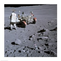 Astronaut walking near the lunar rover on the moon, Apollo 16 Fine-Art Print