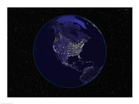 Satellite view of the Earth showing city lights at night Fine-Art Print