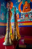 Ceremonial horns at Shey Palace, Ledakh, India Fine-Art Print