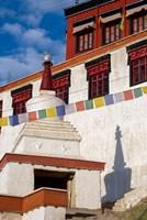 Prayer flags and a chorten at Thiksey Monastery, Leh, Ladakh, India Fine-Art Print