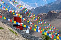 Strings of prayer flags at Thiksey Monasterym Leh, Ladakh, India Fine-Art Print