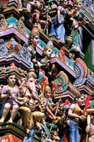 Hindu Figurines on Temple, Bangalore, India Fine-Art Print