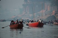 Boats in the Ganges River, Varanasi, India Fine-Art Print