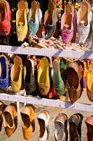 Shoes For Sale in Downtown Center of the Pink City, Jaipur, Rajasthan, India Fine-Art Print