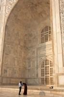 Visitors dwarfed by the Taj Mahal, Agra, Uttar Pradesh, India Fine-Art Print