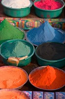 Selling Holy Color Powder at the Market, Puri, Orissa, India Fine-Art Print
