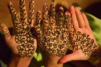 Woman's Palm Decorated in Henna, Jaipur, Rajasthan, India Fine-Art Print
