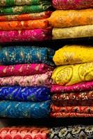 Colorful Sari Shop in Old Delhi market, Delhi, India Fine-Art Print