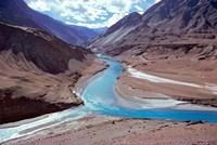 India, Ladakh, Indus and Zanskar Rivers merge Fine-Art Print