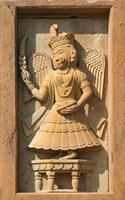 Stone carving in Hotel Prithvi Vilas Palace, Jhalawar, Rajasthan, India Fine-Art Print