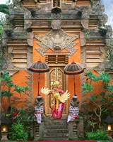 Balinese Dancer Wearing Traditional Garb Near Palace Doors in Ubud, Bali, Indonesia Fine-Art Print