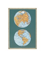 Map of the World's Hemispheres, two views Fine-Art Print