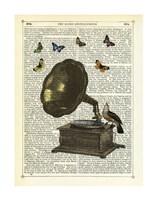 Gramophone, Bird & Butterflies Fine-Art Print