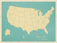 USA Map (blue) Fine-Art Print
