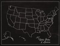 USA Map (chalk) Fine-Art Print