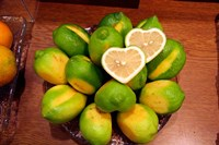 Display of fresh heart shaped limes, Tokyo, Japan Fine-Art Print