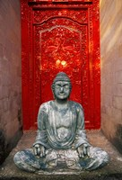Buddha at Ornate Red Door, Ubud, Bali, Indonesia Fine-Art Print