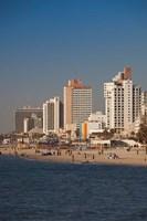 Israel, Tel Aviv, beachfront hotels, late afternoon Fine-Art Print