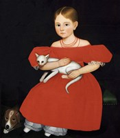 Girl in Red Dress with Cat and Dog, 1830-1835 Fine-Art Print