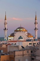 Jordan, Kings Highway, Madaba, Town view with mosque Fine-Art Print