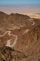 Jordan, Winding highway from Wadi Musa to Wadi Araba Fine-Art Print