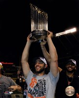 Madison Bumgarner with the World Series Championship Trophy Game 7 of the 2014 World Series Fine-Art Print