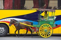 Horse cart walk by colorfully painted bus, Manila, Philippines Fine-Art Print