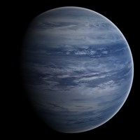 Artist's concept of a blue-white gas giant planet Fine-Art Print