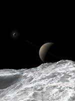 Saturn and Enceladus as seen from the moon Tethys Fine-Art Print