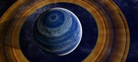 A ringed blue gas giant with shepherd moon in the rings Fine-Art Print