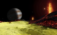 Volcanic activity on Jupiter's moon Io, with the planet Jupiter visible on the horizon Fine-Art Print