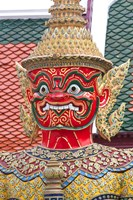 Buddhist mythology yaksa, Temple of the Emerald Buddha, Bangkok, Thailand Fine-Art Print