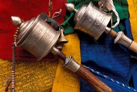 Prayer Wheels and Flags, Lhasa, Tibet Fine-Art Print