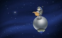 Cartoon Astronaut in Outer Space Fine-Art Print