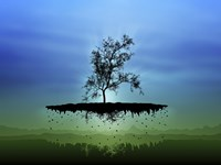 Flying Tree ( digitally generated - blue) Fine-Art Print