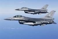 Two Dutch F-16AMs Over the Mediterranean Sea (side view) Fine-Art Print