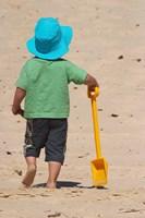 Little Boy and Spade on Beach, Gold Coast, Queensland, Australia Fine-Art Print