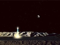 Moonship Lifts Off from the Lunar Hills Fine-Art Print