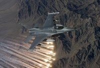 An F-16 Fighting Falcon Releases Flares Fine-Art Print