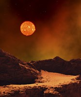 Rugged Planet Landscape Dimly Lit by a Distant Red Star Fine-Art Print