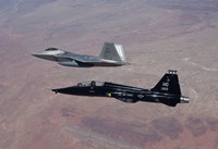 F-22 Raptor and T-38 Talon Fly in Formation over New Mexico Fine-Art Print