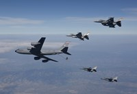 Four F-16's and a KC-135 over Arizona Fine-Art Print