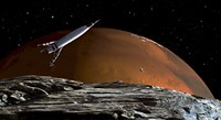 Spaceship in Orbit over Mars Moon, Phobos Fine-Art Print