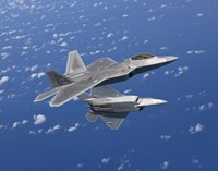 Two F-22 Raptors Maneuver over Japan Fine-Art Print