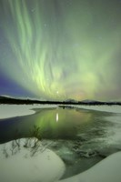 Aurora Borealis over a creek, Yukon, Canada Fine-Art Print